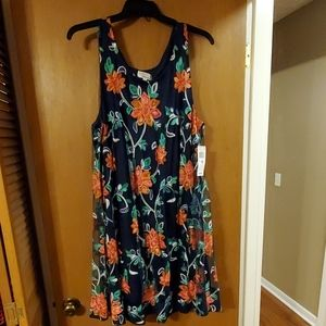 Navy blue floral dress by Robbie Bee 2x